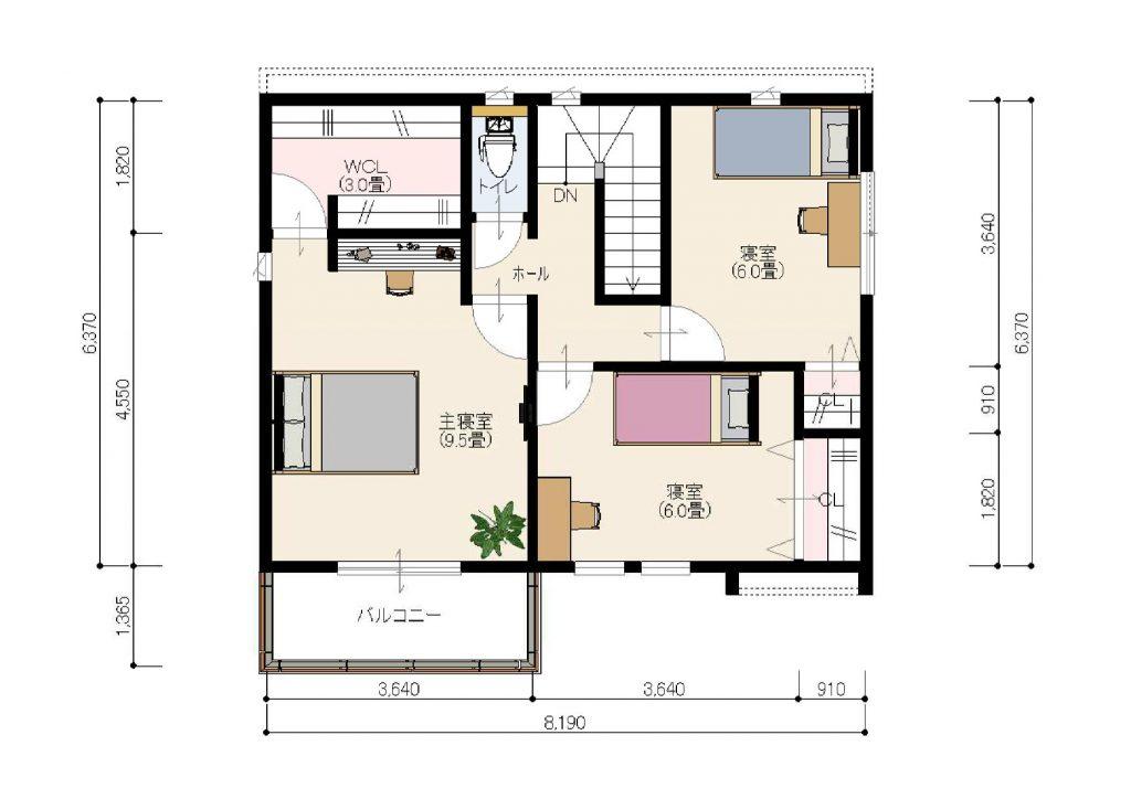 2階平面図 各部屋収納付き、主寝室には3畳の大型ウォークインクローゼット付で、収納に困りません。