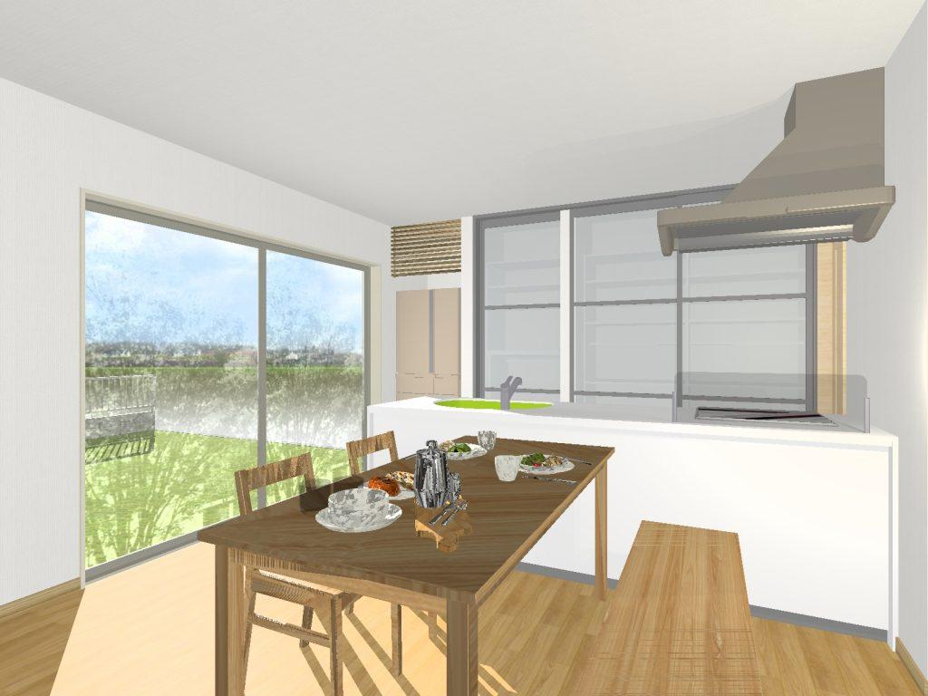 人工大理石カウンタートップの、食洗付きオールスライド収納キッチンを採用、お手入れ簡単な換気扇が奥様の負担をさらに軽減!天井まである大型食器棚で「キッチンに収納がたりない!」を解決